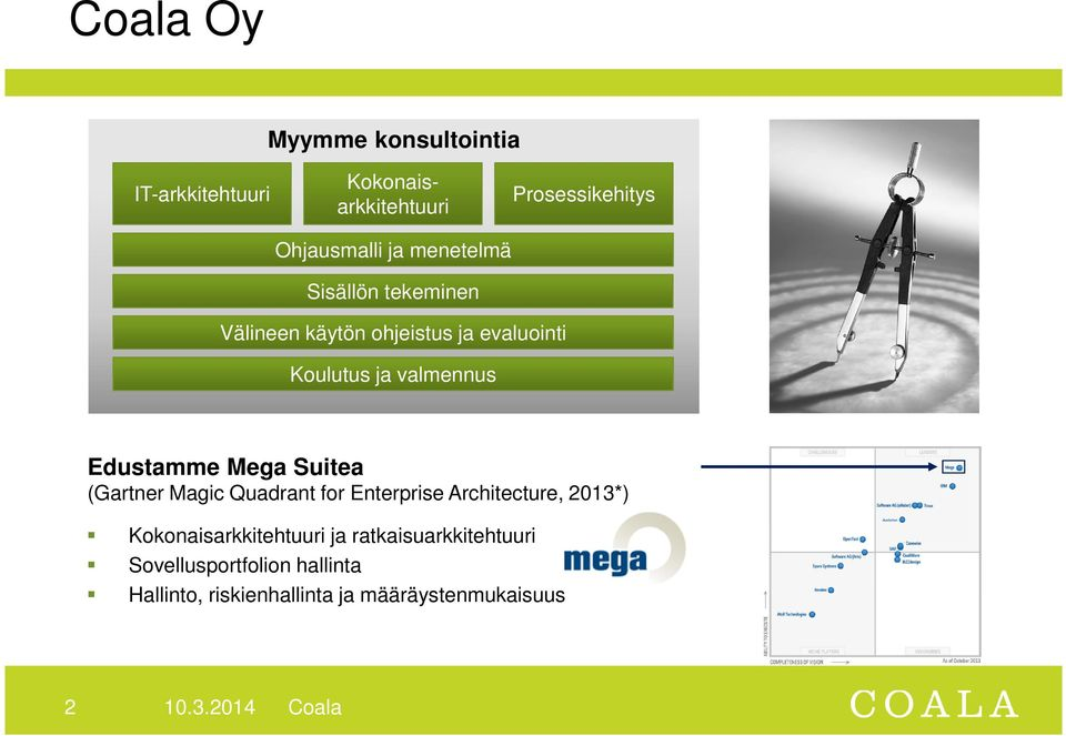 Suitea (Gartner Magic Quadrant for Enterprise Architecture, 2013*) Kokonaisarkkitehtuuri ja