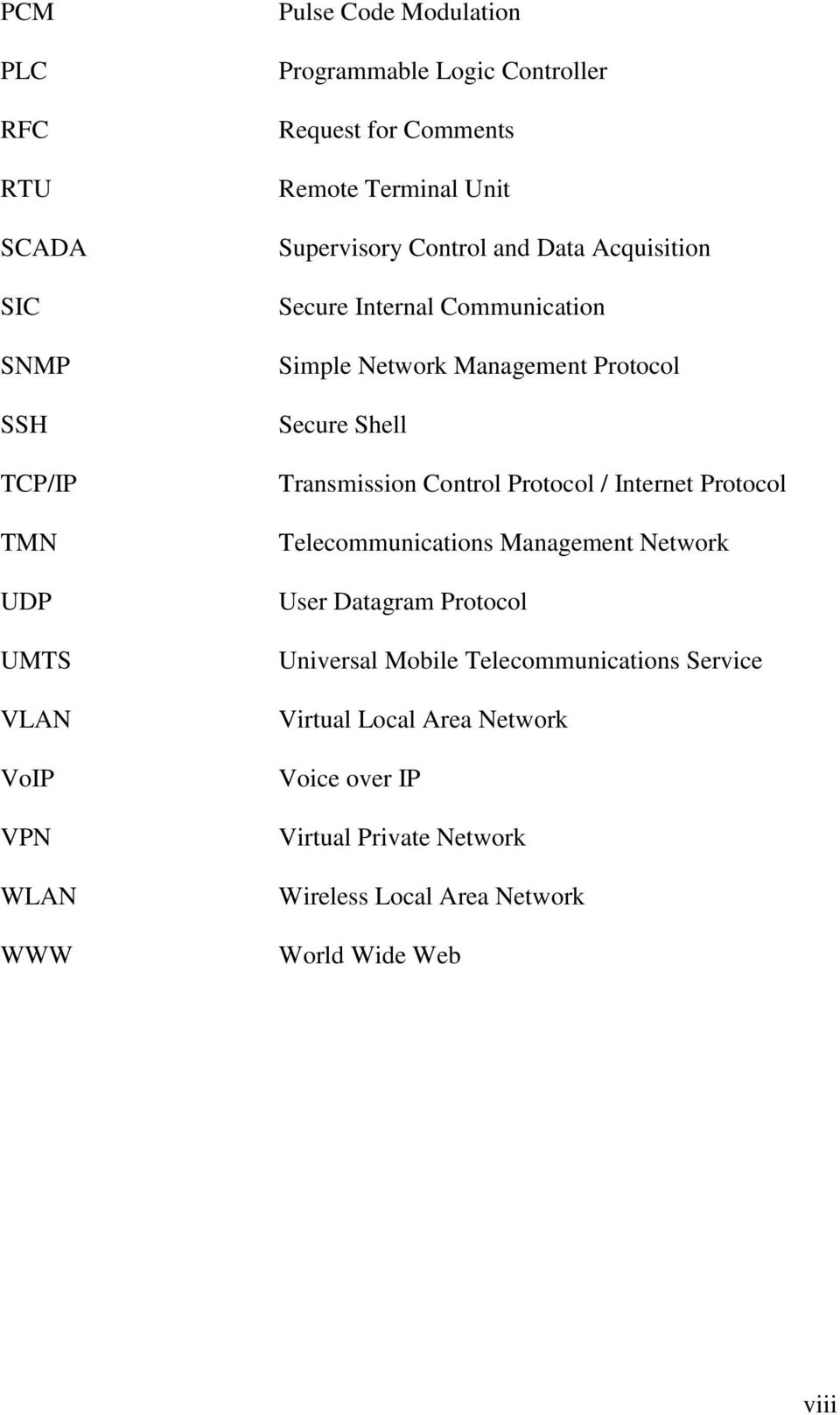 Secure Shell Transmission Control Protocol / Internet Protocol Telecommunications Management Network User Datagram Protocol Universal