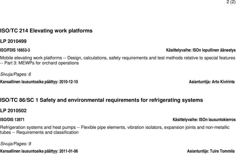 1 Safety and environmental requirements for refrigerating systems LP 2010502 ISO/DIS 13971 Käsittelyvaihe: ISOn lausuntokierros Refrigeration systems and heat pumps -- Flexible pipe