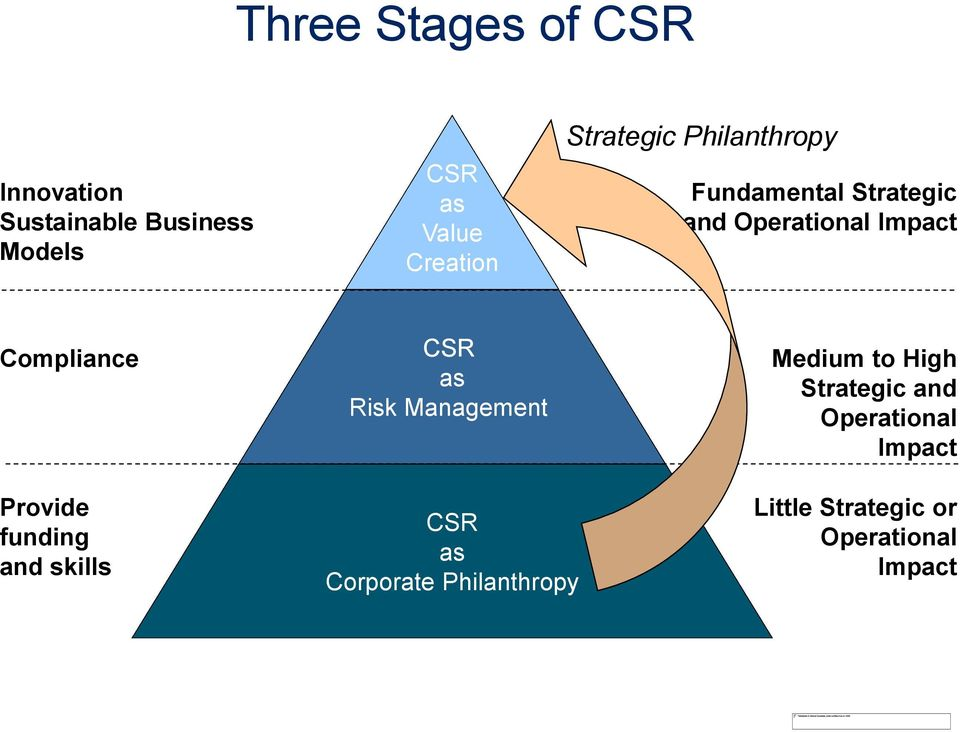 CSR as Risk Management Medium to High Strategic and Operational Impact Provide