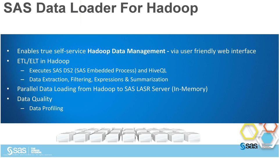Extraction, Filtering, Expressions & Summarization Parallel Data Loading from Hadoop to SAS