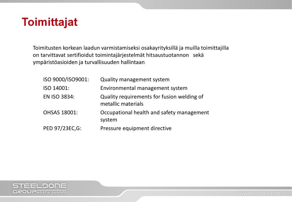 ISO 14001: EN ISO 3834: OHSAS 18001: PED 97/23EC,G: Quality management system Environmental management system Quality