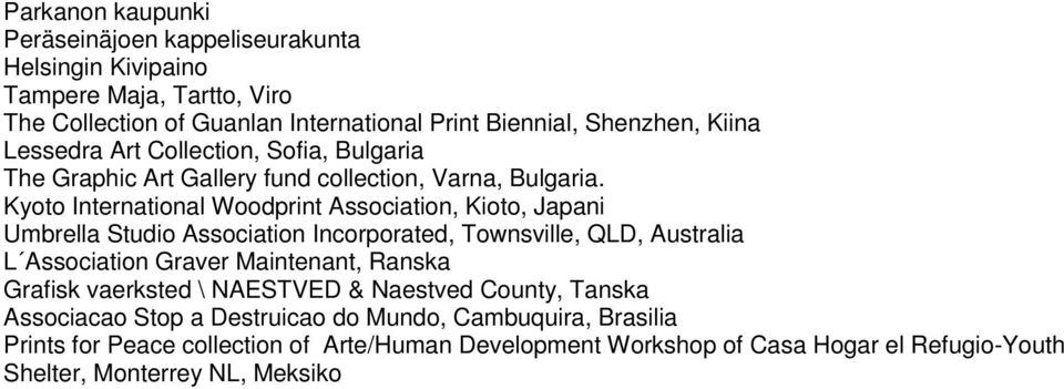 Kyoto International Woodprint Association, Kioto, Japani Umbrella Studio Association Incorporated, Townsville, QLD, Australia L Association Graver Maintenant, Ranska