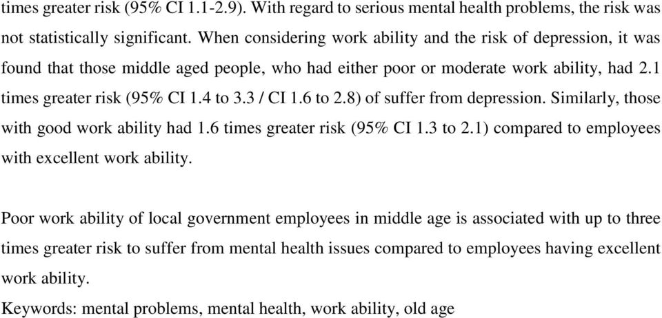 3 / CI 1.6 to 2.8) of suffer from depression. Similarly, those with good work ability had 1.6 times greater risk (95% CI 1.3 to 2.1) compared to employees with excellent work ability.