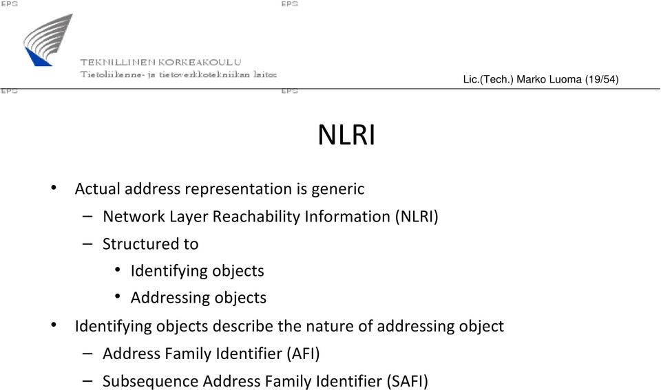 Layer Reachability Information (NLRI) Structured to Identifying objects