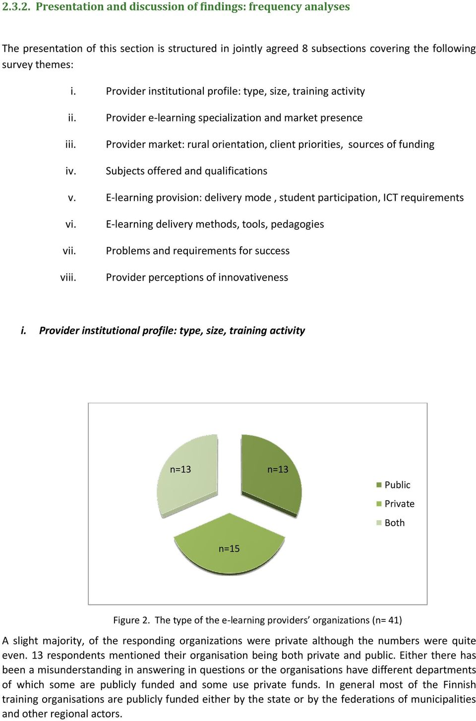 Provider e-learning specialization and market presence Provider market: rural orientation, client priorities, sources of funding Subjects offered and qualifications v.