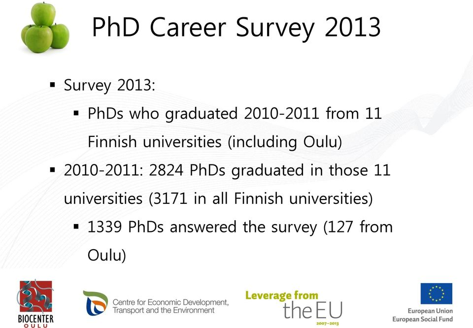2010-2011: 2824 PhDs graduated in those 11 universities (3171