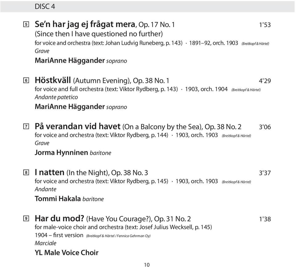 1904 (Breitkopf & Härtel) Andante patetico MariAnne Häggander soprano 7 8 9 På verandan vid havet (On a Balcony by the Sea), Op. 38 No. 2 3'06 for voice and orchestra (text: Viktor Rydberg, p.