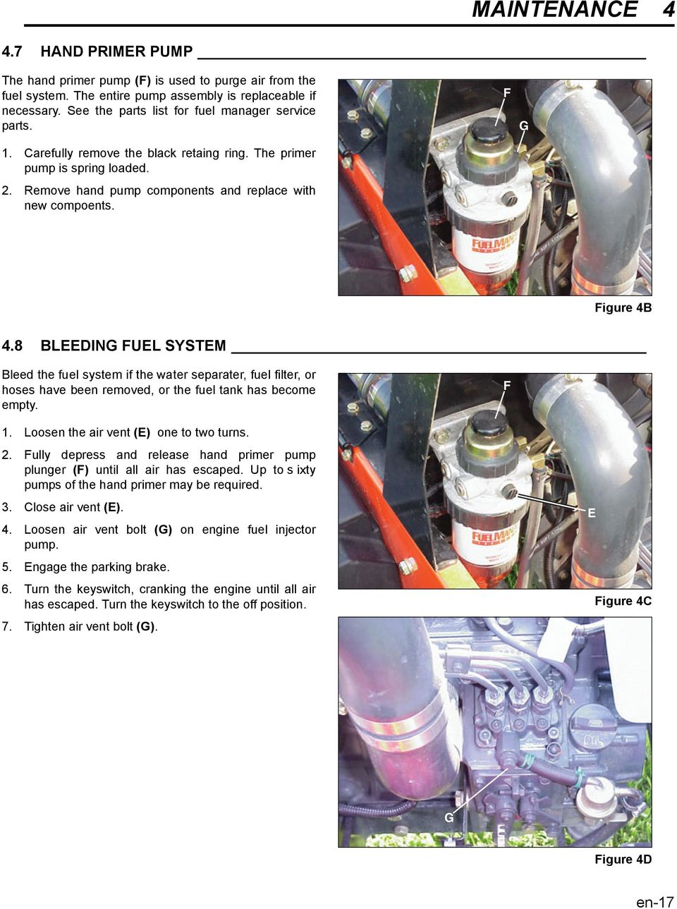 F G Figure B. BLEEDING FUEL SYSTEM Bleed the fuel system if the water separater, fuel filter, or hoses have been removed, or the fuel tank has become empty. F 1.