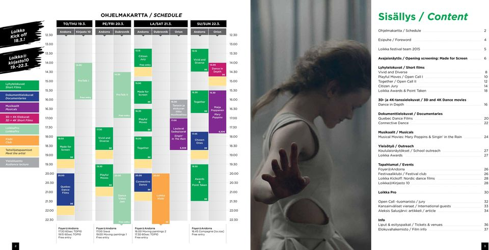 00 Quebec Dance Films Kirjasto 10 14.00 ProTalk I Free entry 17.30 Vivid and Diverse 19.30 OHJELMAKARTTA / SCHEDULE Playful Moves Dubrovnik 14.30 ProTalk II 20.