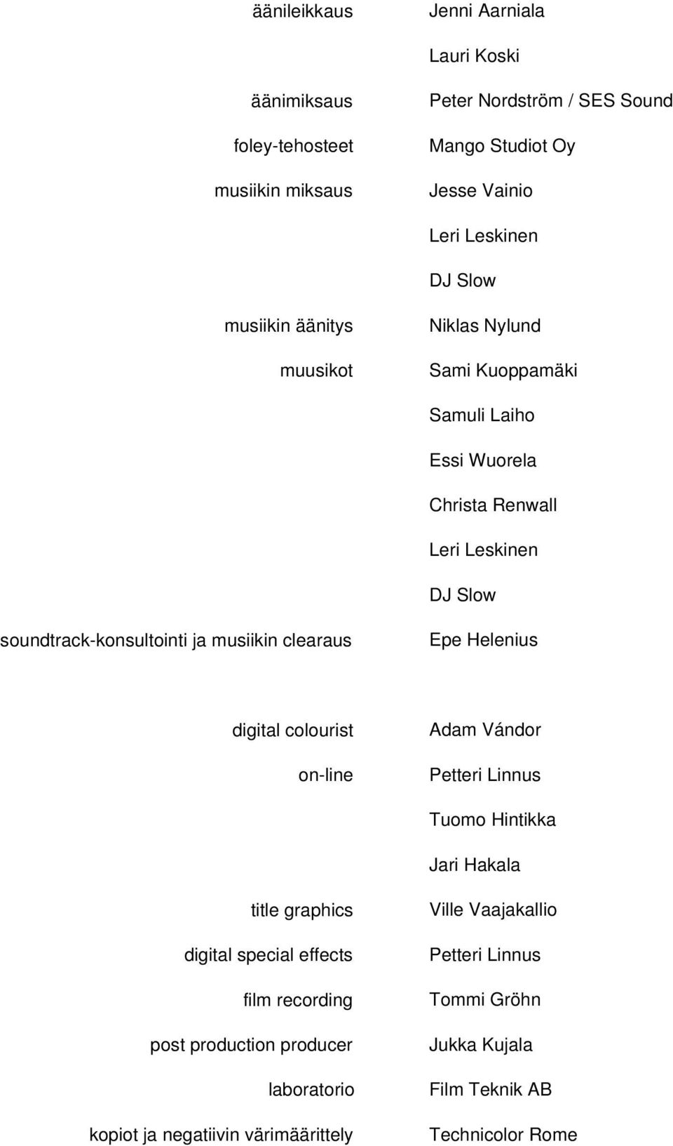 musiikin clearaus Epe Helenius digital colourist on-line Adam Vándor Petteri Linnus Tuomo Hintikka Jari Hakala title graphics digital special effects film