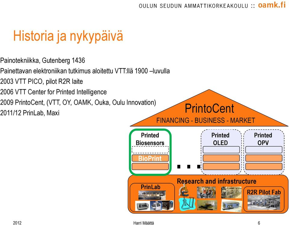 OY, OAMK, Ouka, Oulu Innovation) 2011/12 PrinLab, Maxi PrintoCent FINANCING - BUSINESS - MARKET Printed