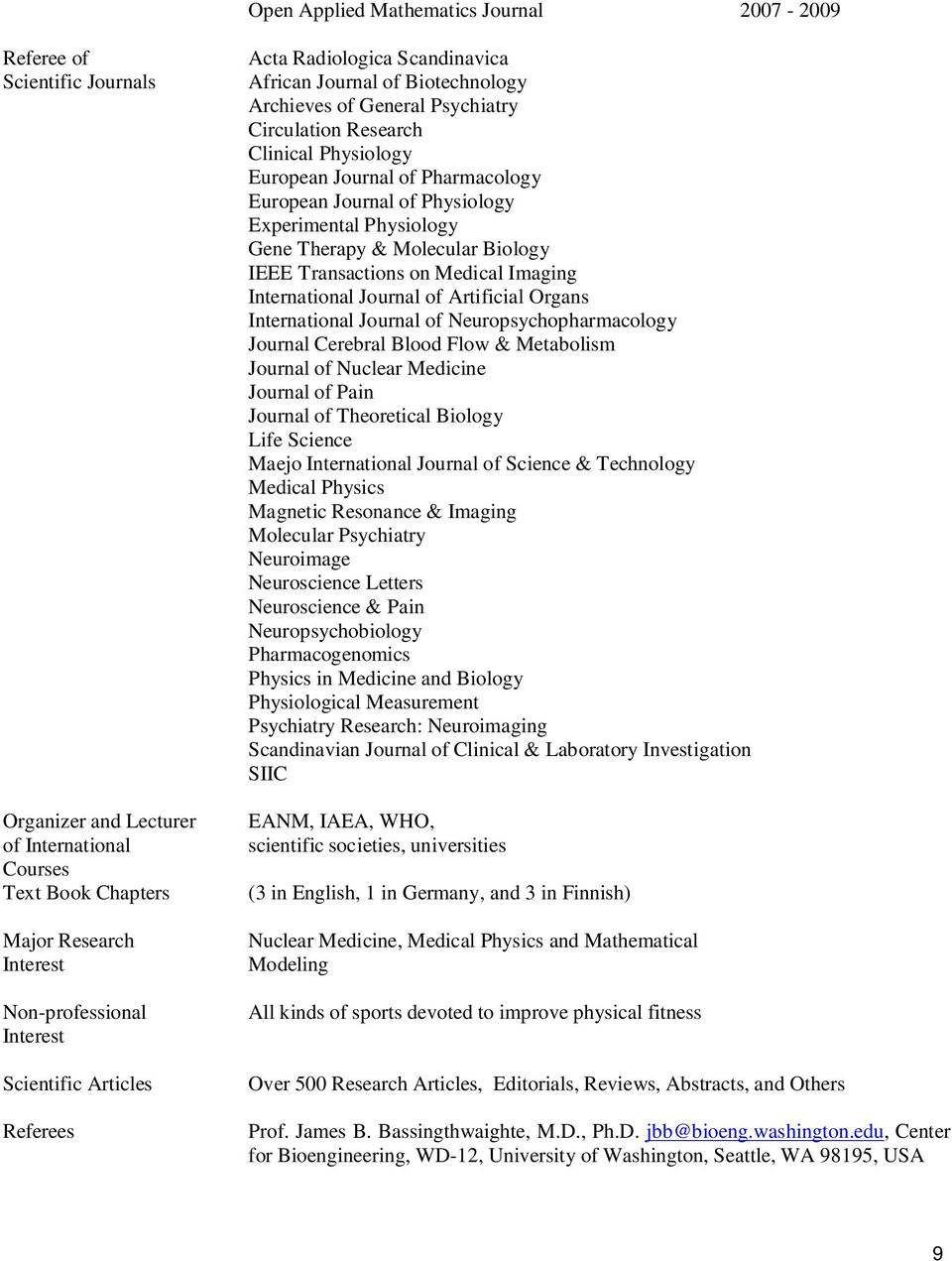 European Journal of Physiology Experimental Physiology Gene Therapy & Molecular Biology IEEE Transactions on Medical Imaging International Journal of Artificial Organs International Journal of