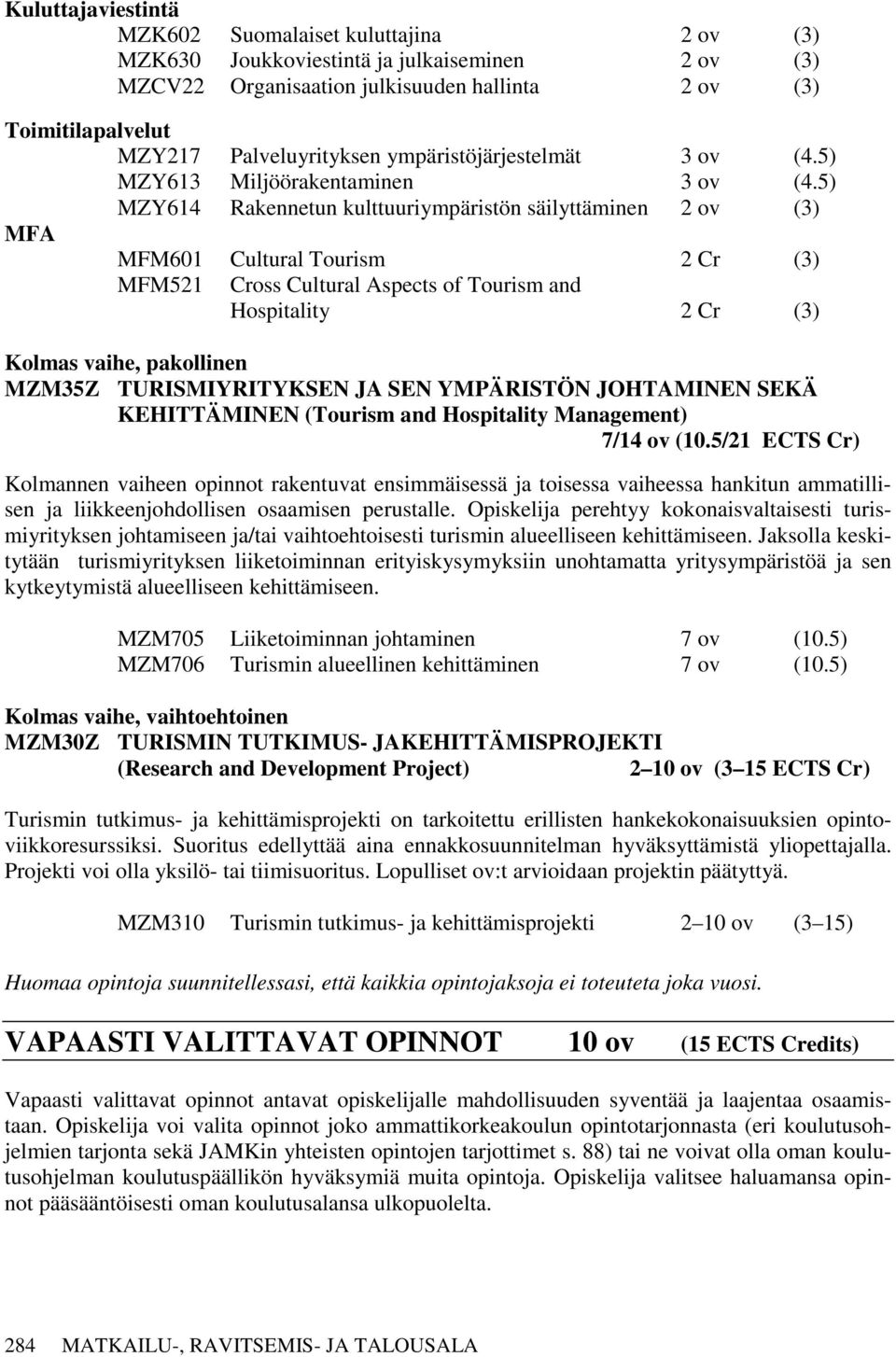 5) MZY614 Rakennetun kulttuuriympäristön säilyttäminen 2 ov (3) MFA MFM601 Cultural Tourism 2 Cr (3) MFM521 Cross Cultural Aspects of Tourism and Hospitality 2 Cr (3) Kolmas vaihe, pakollinen MZM35Z