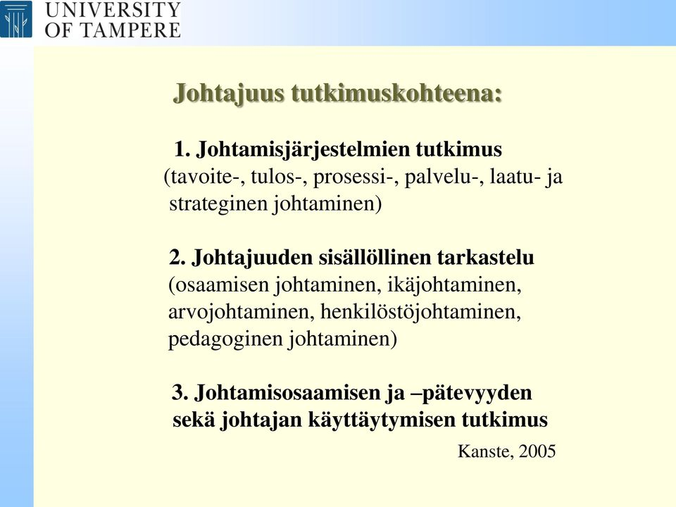 strateginen johtaminen) 2.