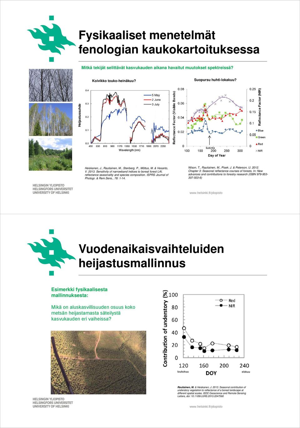 Sensitivity of narrowband indices to boreal forest LAI, reflectance seasonality and species composition. ISPRS Journal of Photogr. & Rem.Sens., 78: 1-14. Nilson, T., Rautiainen, M., Pisek. J. & Peterson, U.
