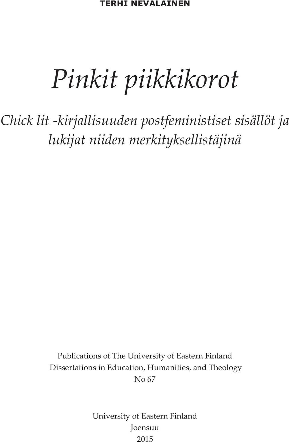 Publications of The University of Eastern Finland Dissertations in