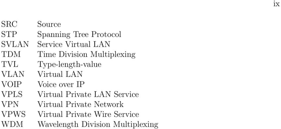 Type-length-value Virtual LAN Voice over IP Virtual Private LAN Service