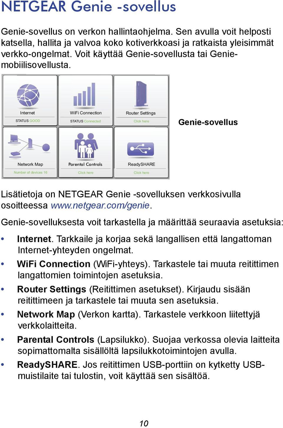 Internet STATUS GOOD WiFi Connection STATUS Connected Router Settings Click here Genie-sovellus Network Map Parental Controls ReadySHARE Number of devices 16 Click here Click here Lisätietoja on