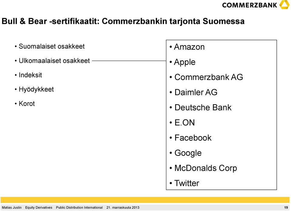 Indeksit Hyödykkeet Korot Amazon Apple Commerzbank AG