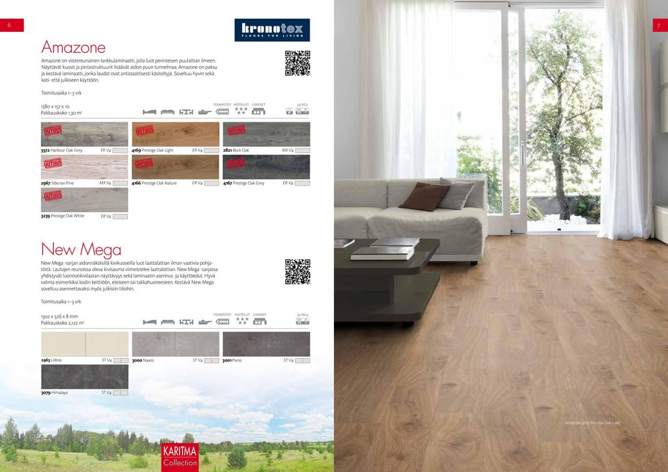 1380 x 157 x 10 Pakkauskoko 1,30 m 2 HOTELLIT LIIKKEET 33/AC5 3572 Harbour Oak Grey ER V4 4169 Prestige Oak Light ER V4 2821 Rock Oak MX V4 2967 Siberian Pine MX V4 4166 Prestige Oak Nature ER V4