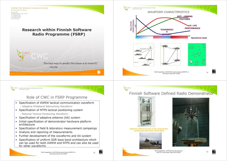 2009 14 Finnish Software Defined Radio Demonstrator Role of CWC in FSRP Programme Specification of AWNW tactical communication waveform - Adaptive Wideband Networking Waveform Specification of NTPS