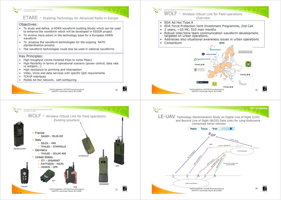 also be used in national waveforms WOLF - Wireless robust Link for Field operations Overview EDA Ad Hoc Type A EDA Force Protection Joint Investment Programme, 2nd Call 2 years, ~10 M, 510 man months