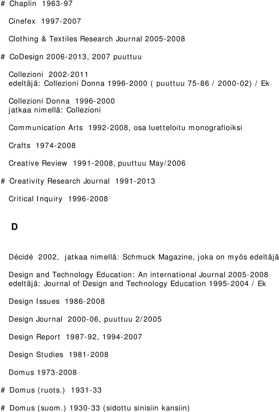 Creativity Research Journal 1991-2013 Critical Inquiry 1996-2008 D Décidé 2002, jatkaa nimellä: Schmuck Magazine, joka on myös edeltäjä Design and Technology Education: An international Journal