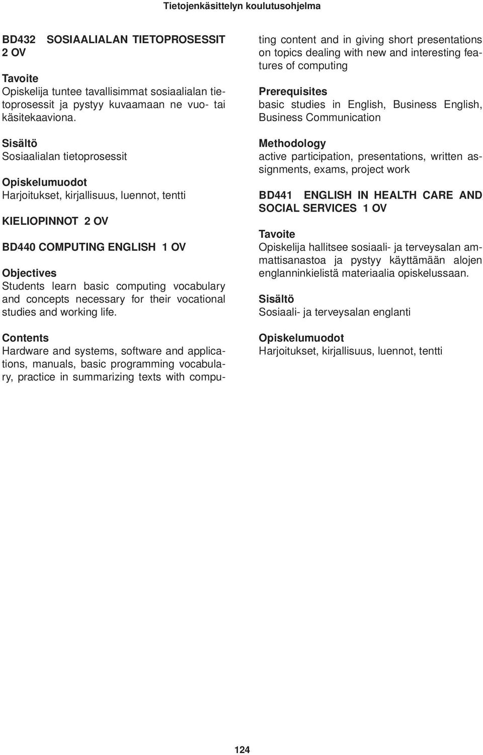 life. Contents Hardware and systems, software and applications, manuals, basic programming vocabulary, practice in summarizing texts with computing content and in giving short presentations on topics