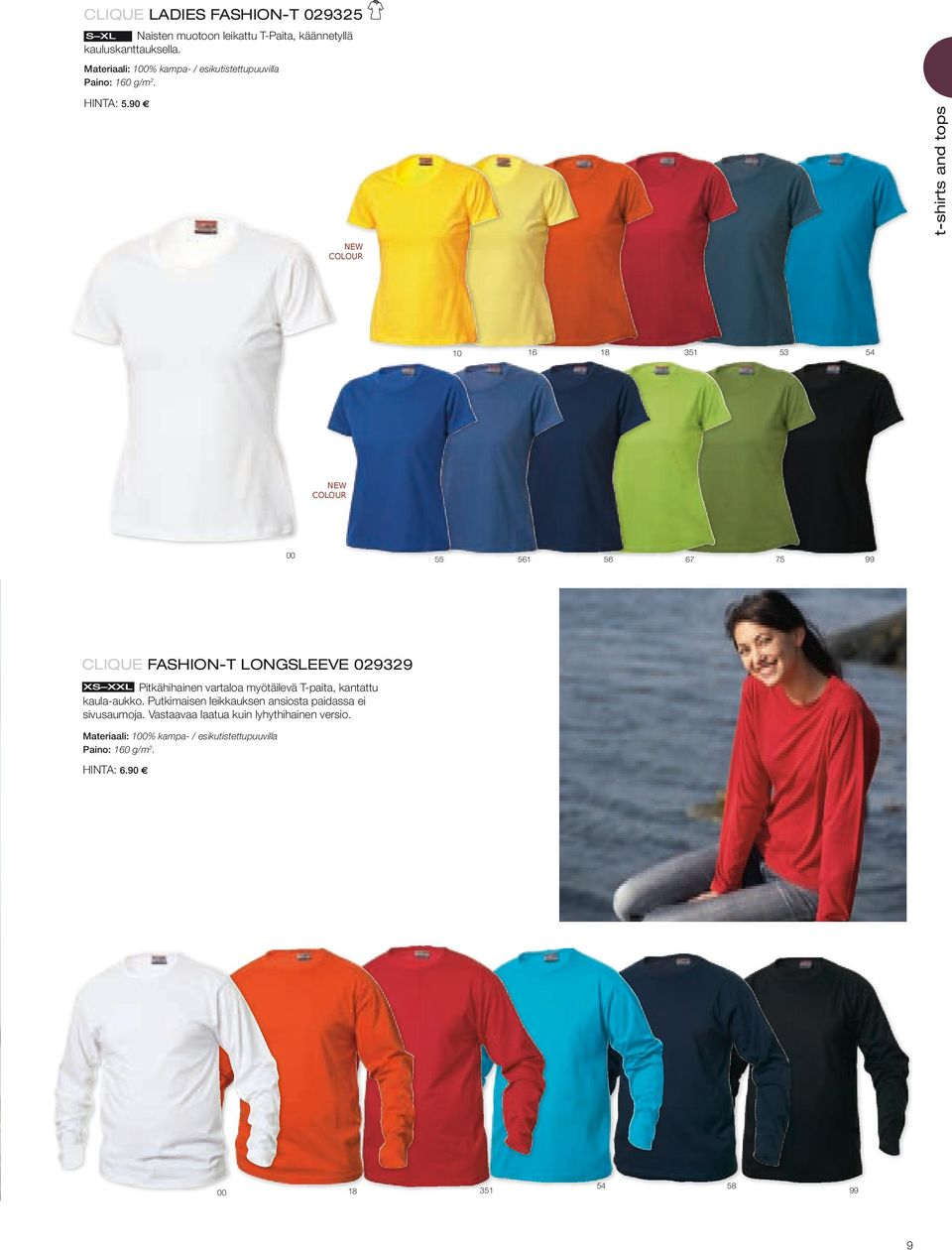 90 NEW COLOUR 1 10 18 351 53 5 NEW COLOUR 55 5 1 58 7 75 CLIQUE FASHION-T LONGSLEEVE 029329 Pitkähihainen vartaloa myötäilevä
