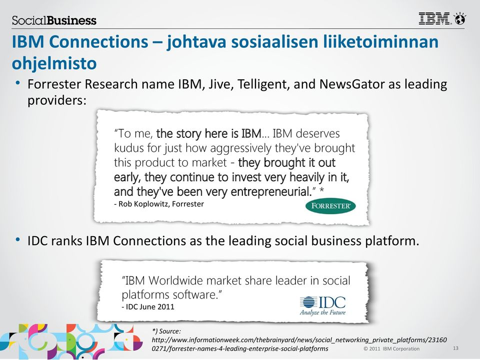 entrepreneurial. * - Rob Koplowitz, Forrester IDC ranks IBM Connections as the leading social business platform. IBM Worldwide market share leader in social platforms software.