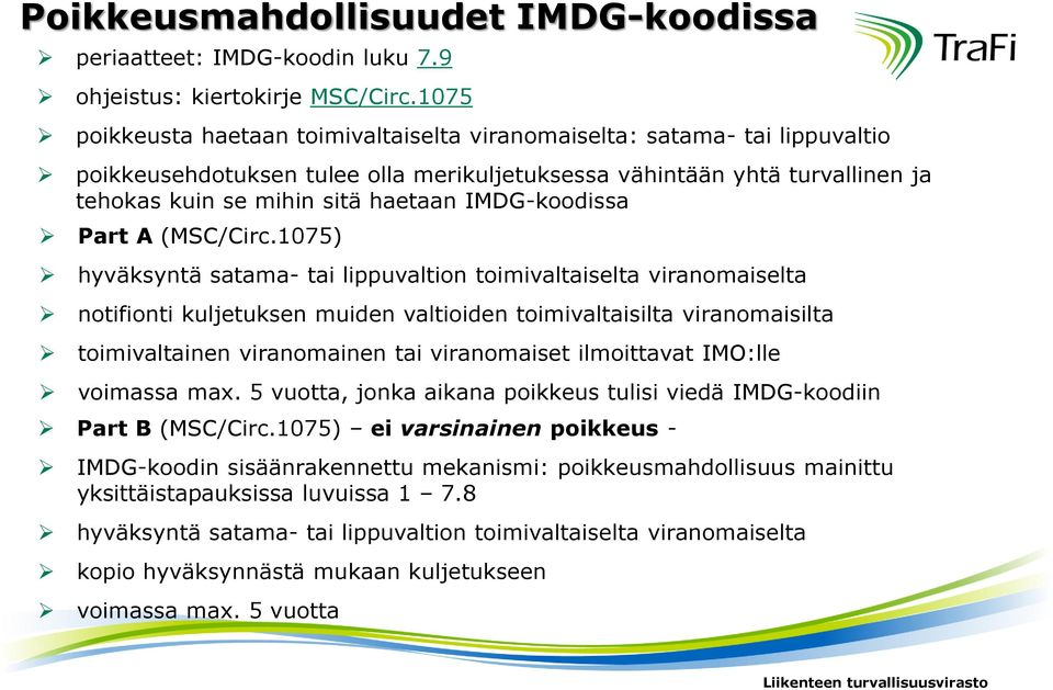 IMDG-koodissa Part A (MSC/Circ.