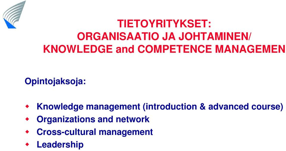 Knowledge management (introduction & advanced