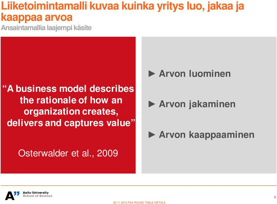 how an organization creates, delivers and captures value Arvon luominen