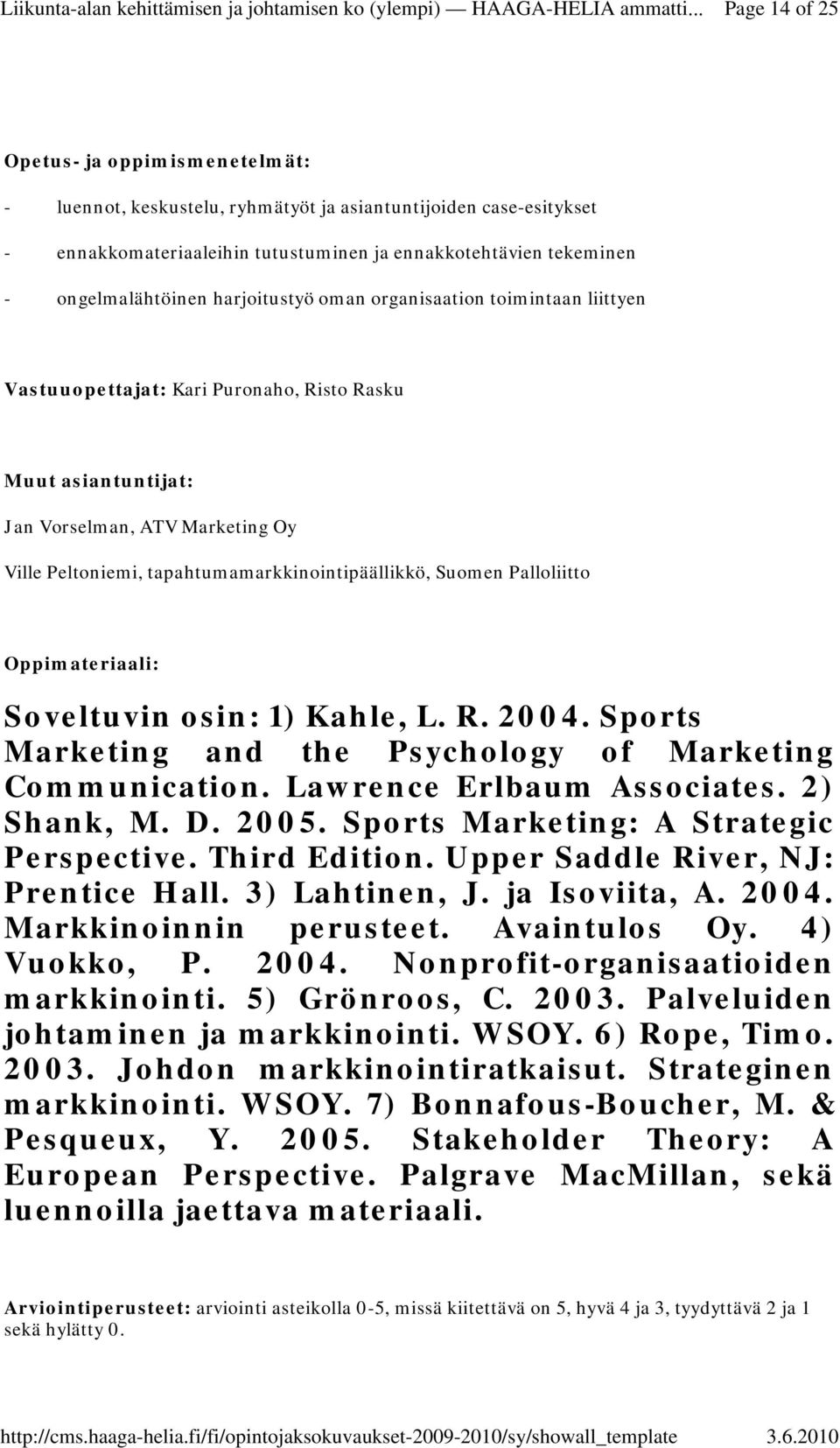 Suomen Palloliitto Oppimateriaali: Soveltuvin osin: 1) Kahle, L. R. 2004. Sports Marketing and the Psychology of Marketing Communication. Lawrence Erlbaum Associates. 2) Shank, M. D. 2005.