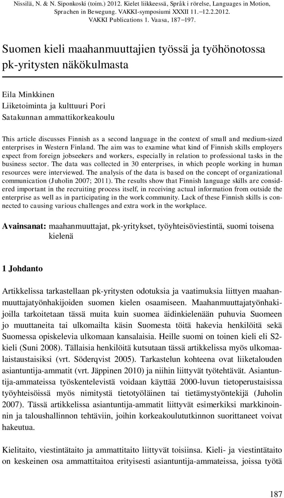 language in the context of small and medium-sized enterprises in Western Finland.