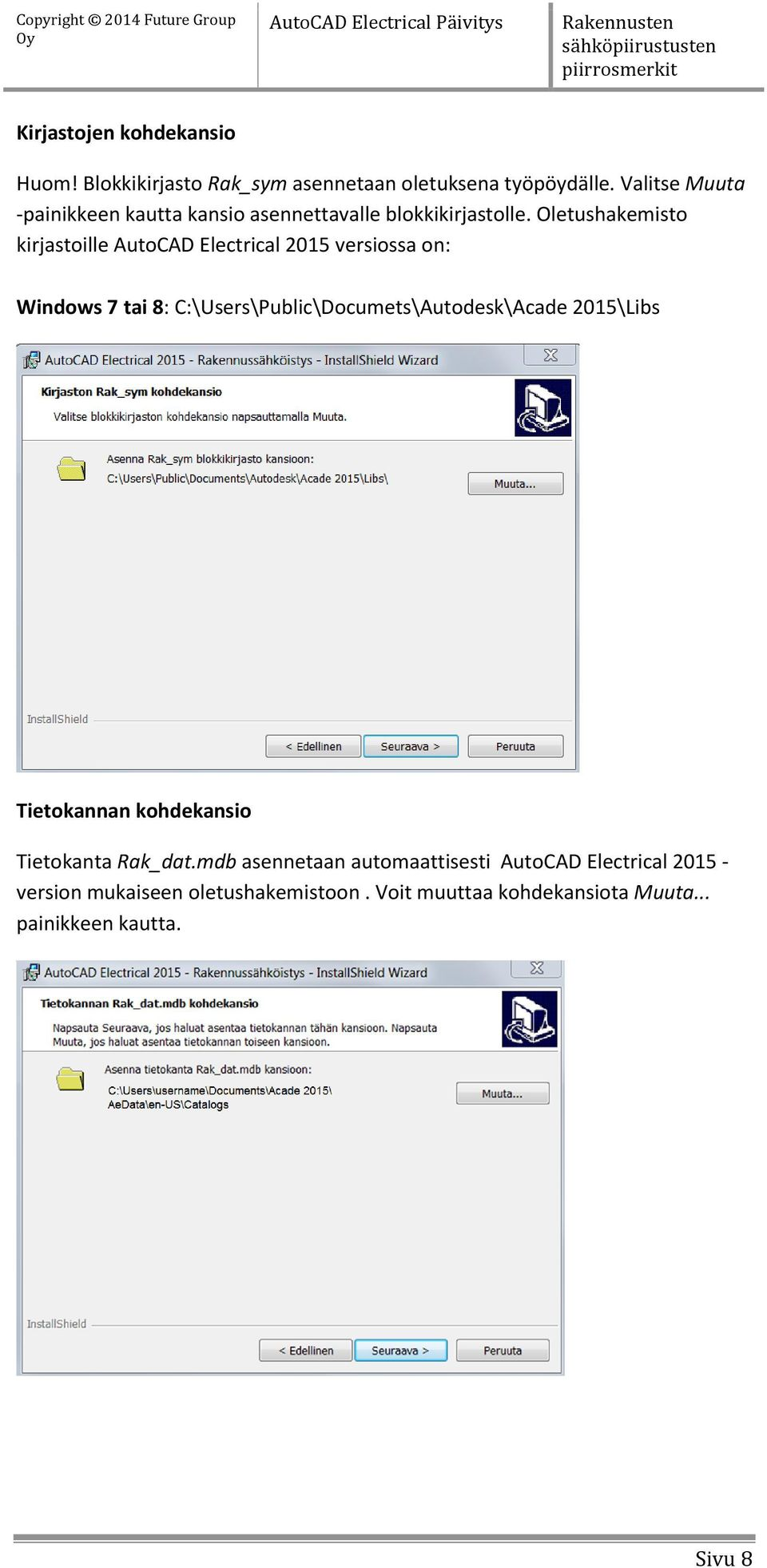 Oletushakemisto kirjastoille AutoCAD Electrical 2015 versiossa on: Windows 7 tai 8: C:\Users\Public\Documets\Autodesk\Acade