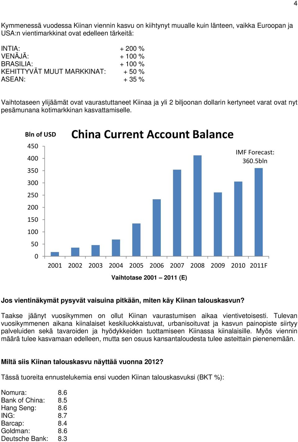 Bln of USD 450 400 350 300 250 200 150 100 50 0 China Current Account Balance Vaihtotase 2001 2011 (E) IMF Forecast: 360.