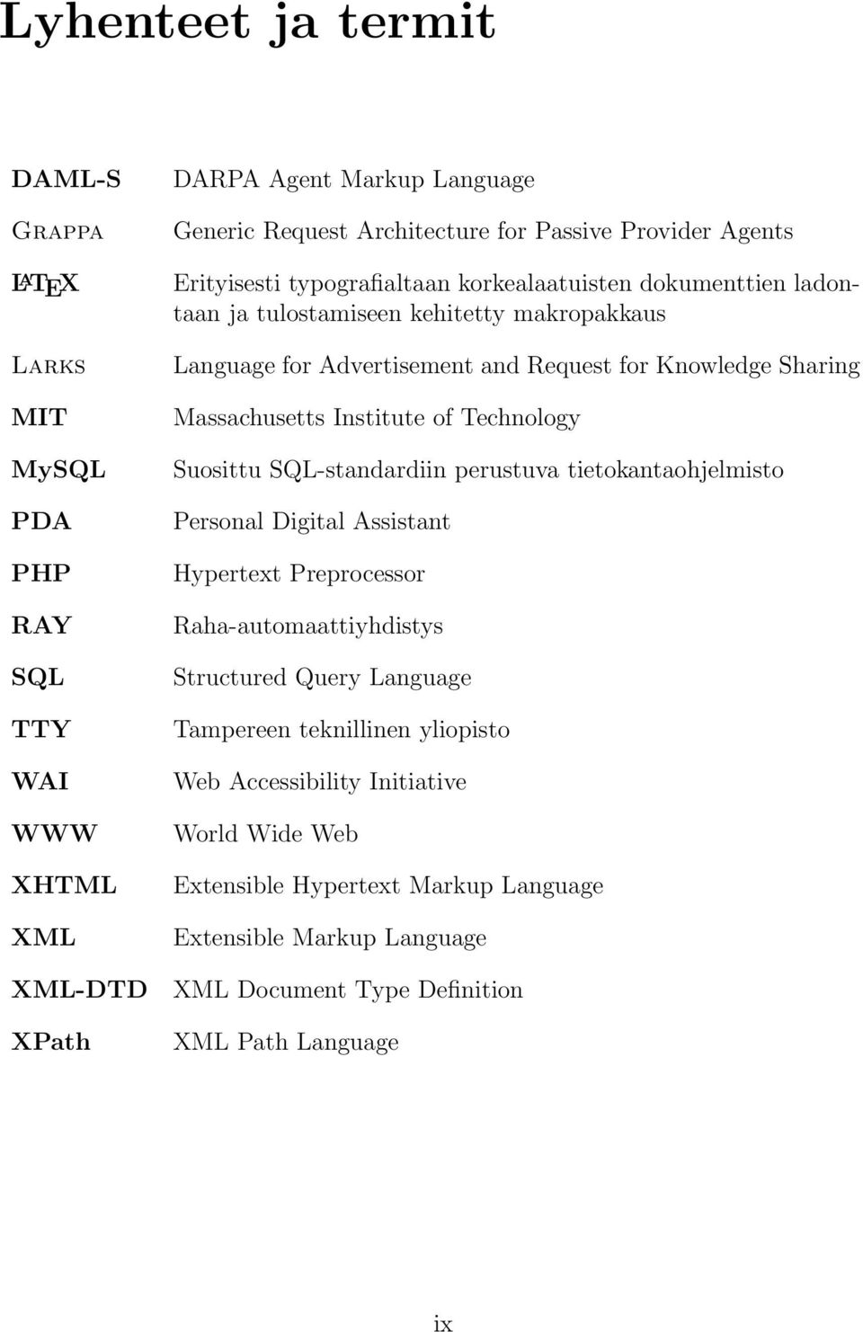 Massachusetts Institute of Technology Suosittu SQL-standardiin perustuva tietokantaohjelmisto Personal Digital Assistant Hypertext Preprocessor Raha-automaattiyhdistys Structured Query