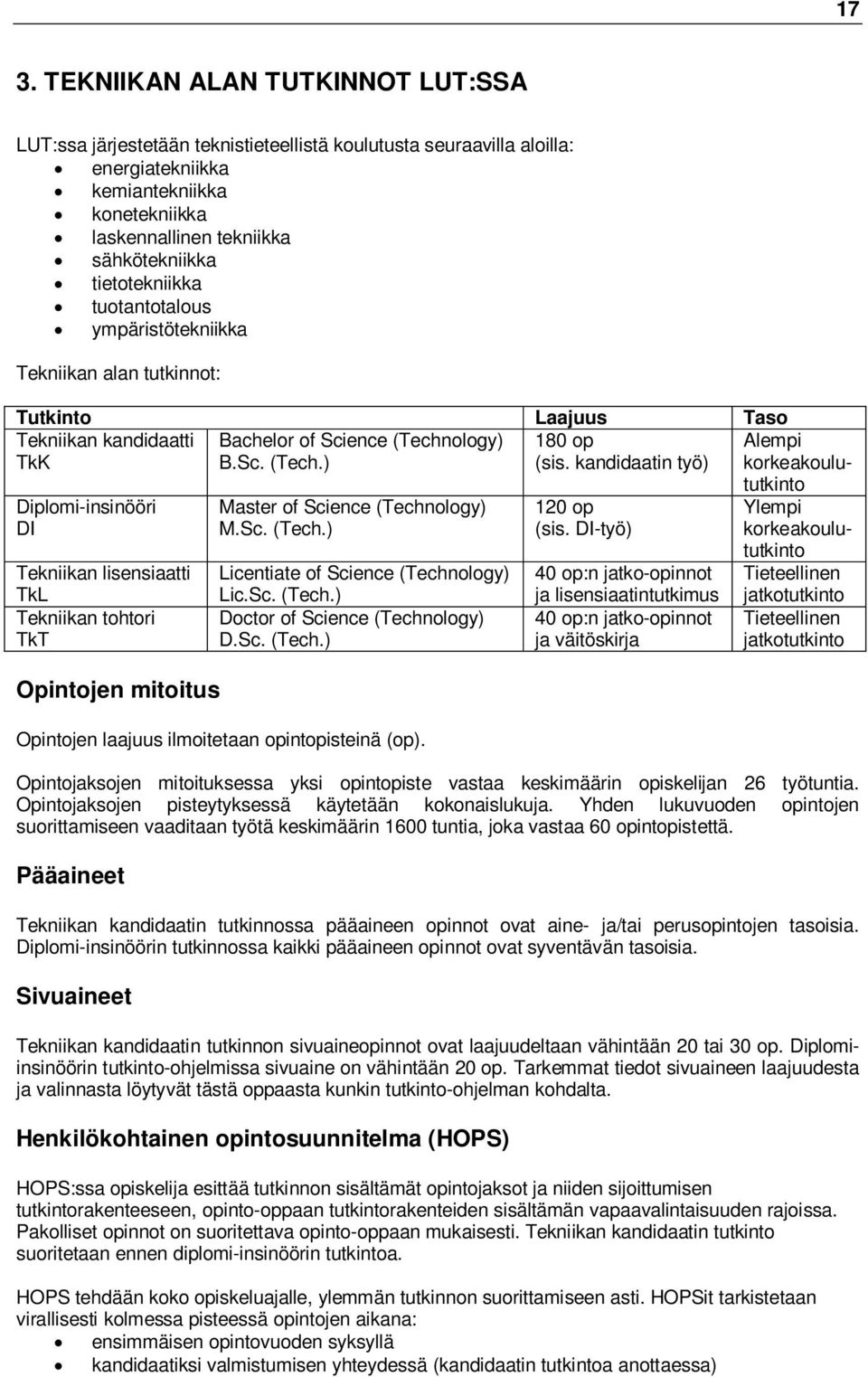 kandidaatin työ) korkeakoulu- Diplomi-insinööri DI Tekniikan lisensiaatti TkL Tekniikan tohtori TkT Opintojen mitoitus Master of Science (Technology) M.Sc. (Tech.) Licentiate of Science (Technology) Lic.