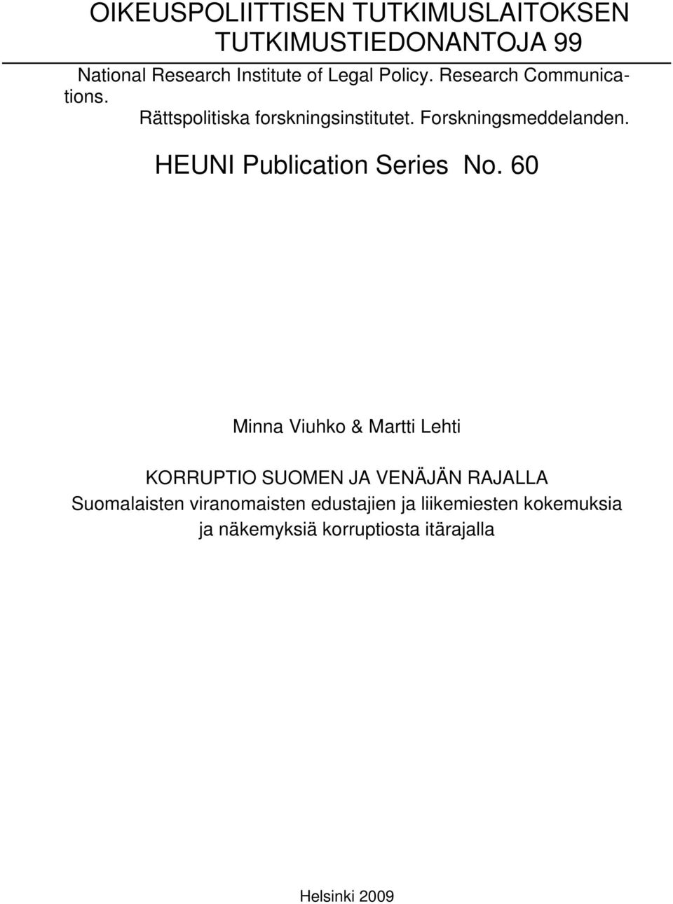 HEUNI Publication Series No.