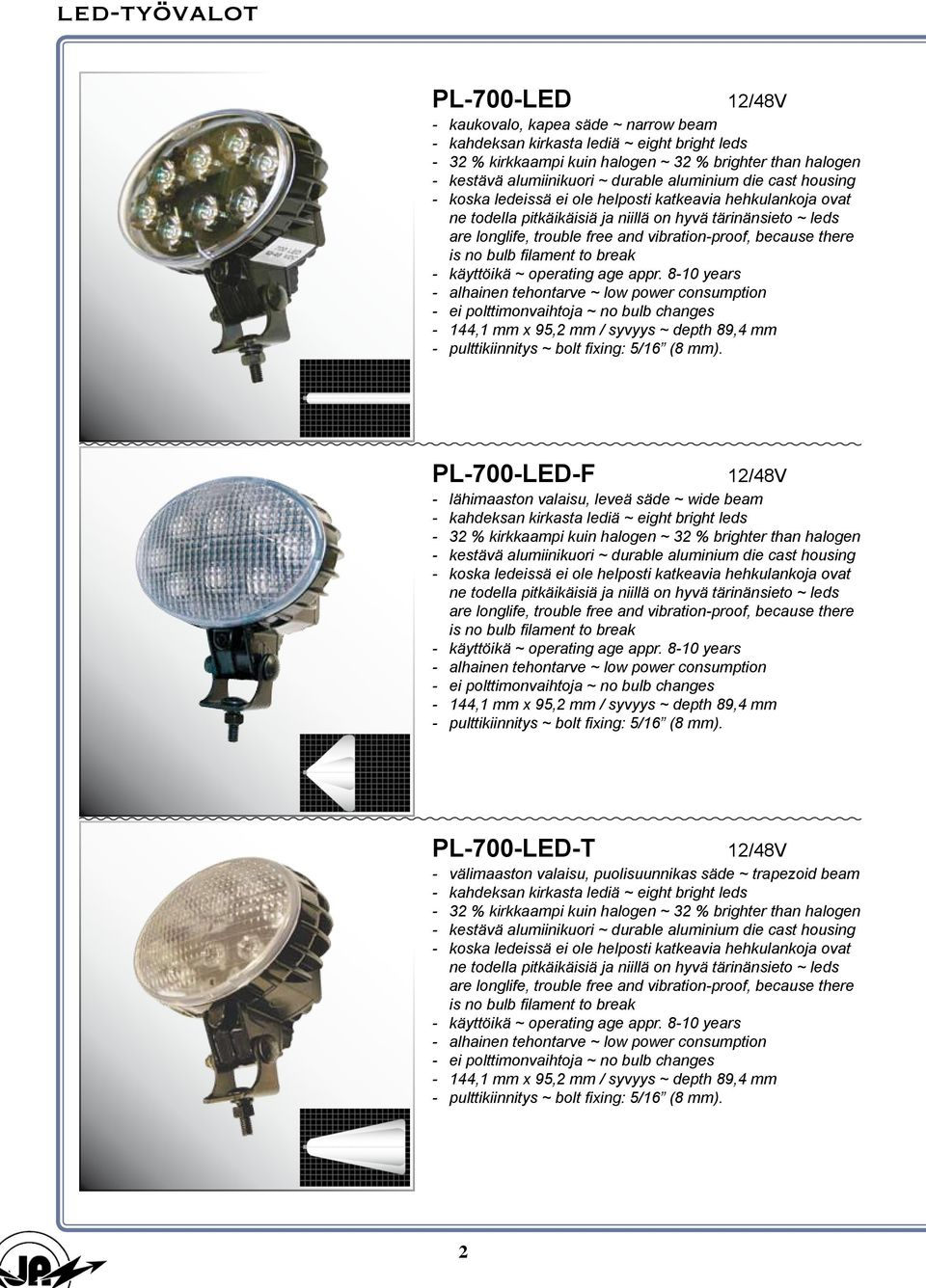vibration-proof, because there is no bulb filament to break - käyttöikä ~ operating age appr.
