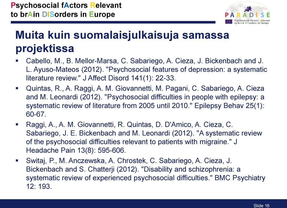 "Leonardi (2012). ""Psychosocial difficulties in people with epilepsy: a systematic review of literature from 2005 until 2010."" Epilepsy Behav 25(1): 60-67. Raggi, A., A. M. Giovannetti, R. Quintas, D."