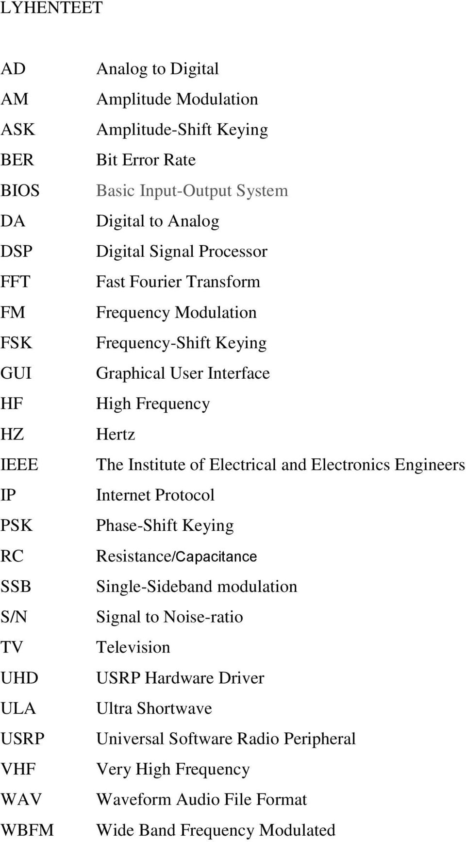 Interface High Frequency Hertz The Institute of Electrical and Electronics Engineers Internet Protocol Phase-Shift Keying Resistance/Capacitance Single-Sideband modulation
