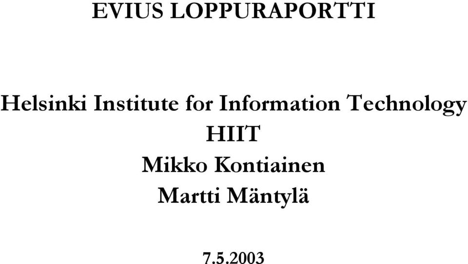 Information Technology HIIT