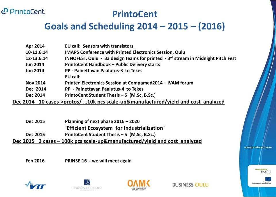 14 IMAPS Conference with Printed Electronics Session, Oulu 12-13.6.