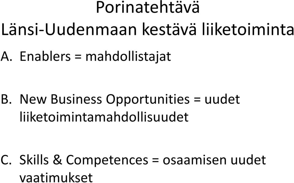 New Business Opportunities = uudet