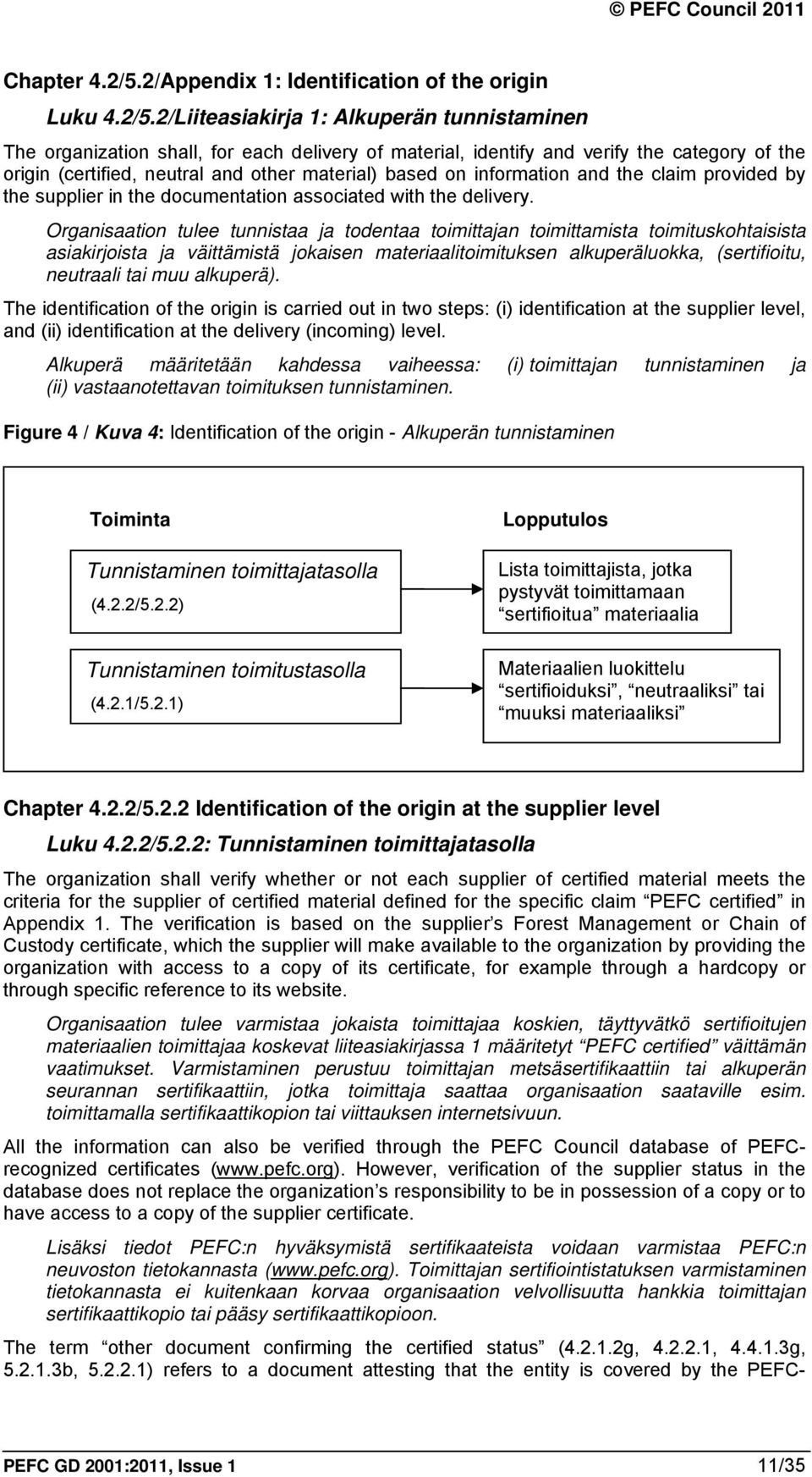 2/Liiteasiakirja 1: Alkuperän tunnistaminen The organization shall, for each delivery of material, identify and verify the category of the origin (certified, neutral and other material) based on