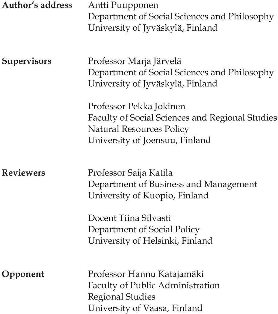 University of Joensuu, Finland Reviewers Professor Saija Katila Department of Business and Management University of Kuopio, Finland Docent Tiina Silvasti
