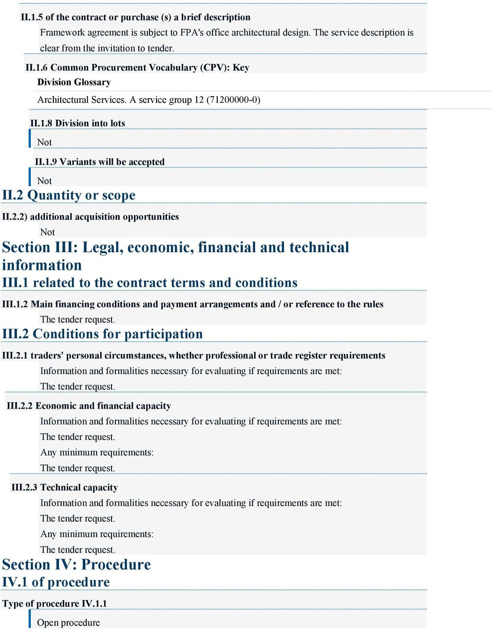 1 related to the contract terms and conditions III.1.2
